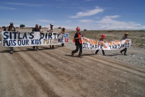 Youth protesters at Red Leaf Resources oil shale strip mine near Indian Canyon.