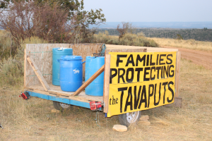 """Families protecting the Tavaputs"" banner on seep ridge road."