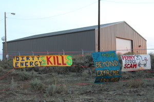 banners at US oil sands tar mine
