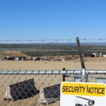 security fence with barb wire at us oil sands pr springs mine site