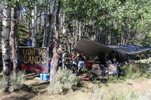Vigil camp on land leased for tar sands strip mining